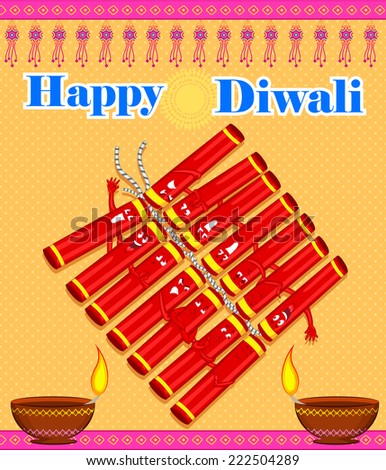 Colorful firecracker with expression for Diwali in vector - stock vector