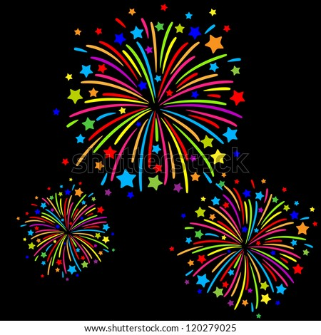 Colorful firework on black background - stock vector