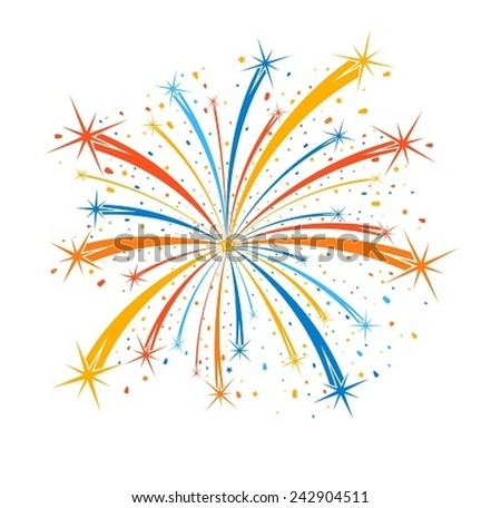 Colorful firework on white background - stock vector