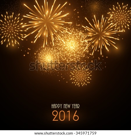 Colorful fireworks on black background. New Year greeting card. - stock vector