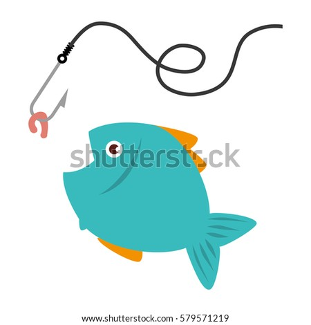 colorful fish animal marine with fish hook - Colorful Fish Book