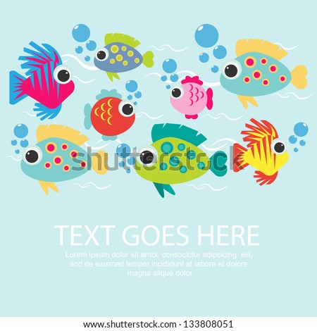 colorful fish background - stock vector