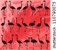 Colorful flamingo bird and feathers silhouettes illustration collection background vector - stock vector