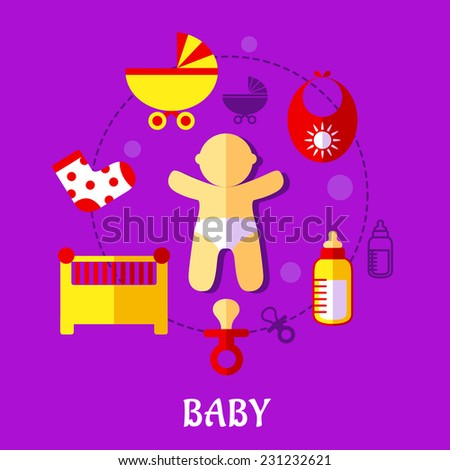 Colorful flat baby design with a cute little baby in a nappy encircled by a cot, crib, pushchair, booties, bib, bottle, and dummy on a purple background, vector illustration - stock vector