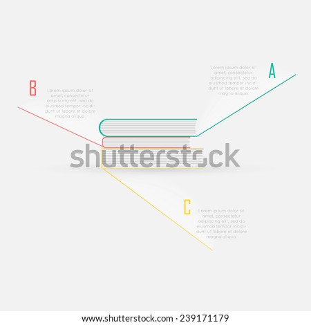 Colorful Flat Books Step by Step. EPS10 Vector Illustration  - stock vector