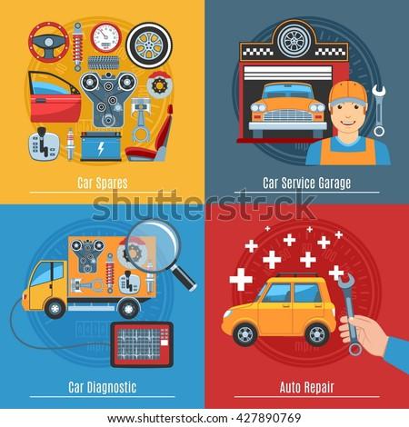 Colorful Flat Car Service Concept Set. Vector illustration - stock vector
