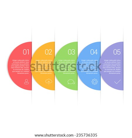 Colorful Flat Circle Step by Step - eps10 vector illustration - stock vector
