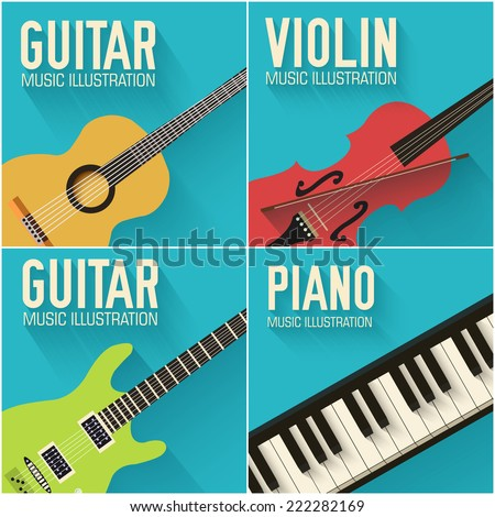 Colorful flat classical musical instruments backgrounds set vector illustration concept design - stock vector