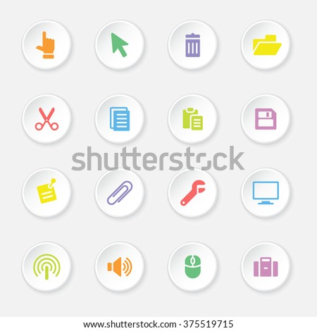 colorful flat computer and technology icon set 3 on white circle button with soft shadow for web design, user interface (UI), infographic and mobile application (apps) - stock vector