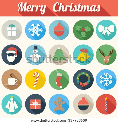 Colorful Flat Design Christmas Icons - vector set eps10 - stock vector