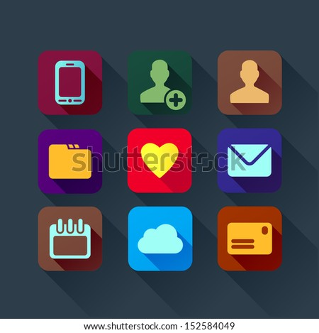 colorful flat design icons for smart phone web applications  interface - stock vector