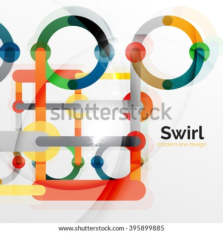 Colorful flat design vector abstract background. Swirl and circle shaped lines on white. Geometrical futuristic template with light effects - stock vector
