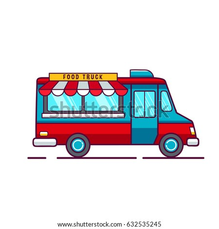 Colorful Flat Fast Food Truck