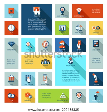 Colorful flat finance and business icons for mobile and web applications - stock vector