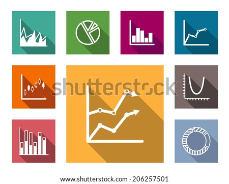 Colorful flat graphs and charts logo set including bar graphs, pie graph, fluctuating charts, Line graph and infographics for business design - stock vector