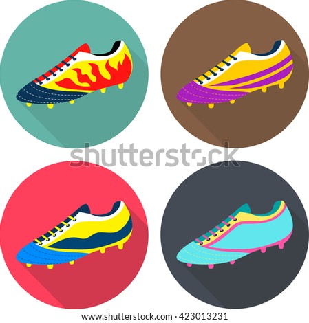Colorful flat icons: football boots. Sport shoes. Euro football competition.