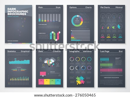 Colorful flat infographic brochures with black background. Data visualization and statistic elements for print, website, corporate reports and graphic projects.  - stock vector