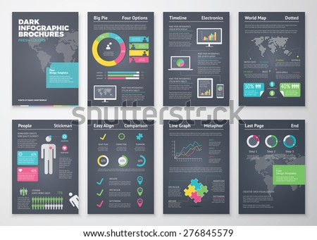 Colorful flat infographic brochures with dark background. Data visualization and statistic elements for print, website, corporate reports and graphic projects.  - stock vector