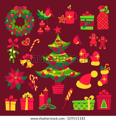 Colorful flat style christmas elements. Vector set.