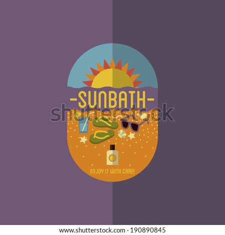 Colorful Flat Summer Holiday and Travel themed Sunbathing Background Illustration - stock vector