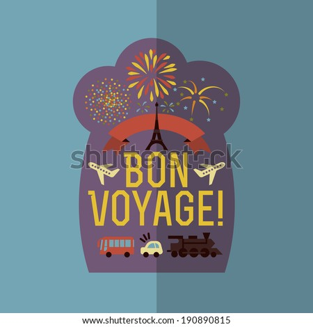 Colorful Flat Summer Holiday and Travel themed Voyage Background Illustration - stock vector