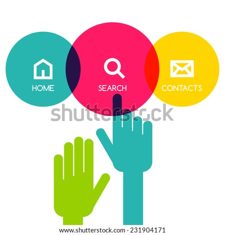 Colorful flat touch interface background template. Hand pointer symbol. Vector illustration. Circle menu concept for web site. - stock vector