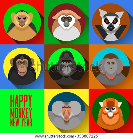Colorful flat vector Happy Monkey New Year face set, a symbol of the 2016 new year, various primates, marmoset, lemur, chimpanzees, gorilla, snub-nosed Chinese monkey, baboon, orangutan. New Year card