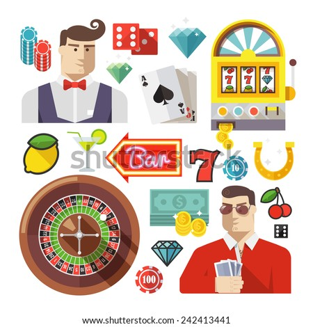 Colorful flat vector icons set for web and mobile apps. Quality design illustrations, elements and concept. Gambling icons, casino icons, money icons, poker icons. - stock vector