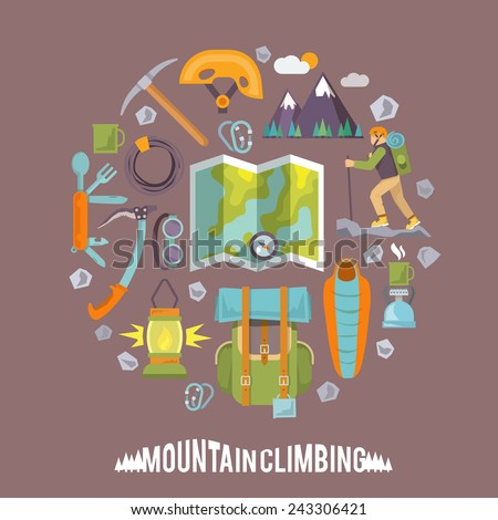 Colorful flat vector icons set. Quality design illustrations, elements and concept. Climbing icons. Set #3 - stock vector
