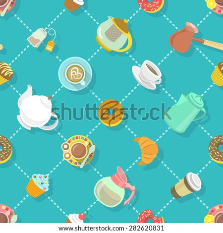 Colorful flat vector seamless pattern with coffee and tea cups, cappuccino, pot, donuts, sweets and with shadows and lines. Food and drink website background, wrapping paper design, fabrics etc. - stock vector