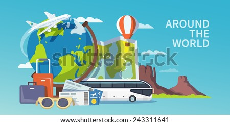 Colorful flat vector travel banner. Quality design illustrations, elements and concept. Advertising banner. Around the world. - stock vector