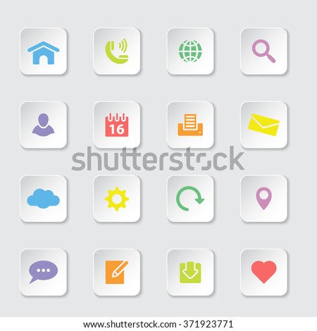 colorful flat web and technology icon set 1 on white rounded rectangle button with soft shadow for web design, user interface (UI), infographic and mobile application (apps) - stock vector