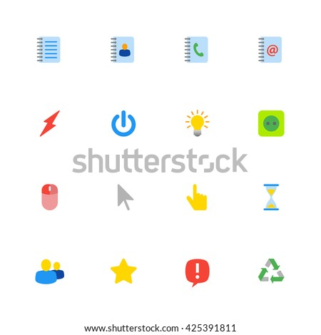 colorful flat web icon set for web design, user interface (UI), infographic and mobile application (apps)