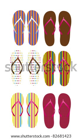 colorful flip flops isolated over white background. vector
