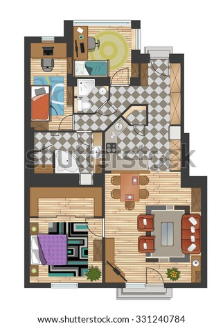 Colorful Floor Plan Of Modern Apartment
