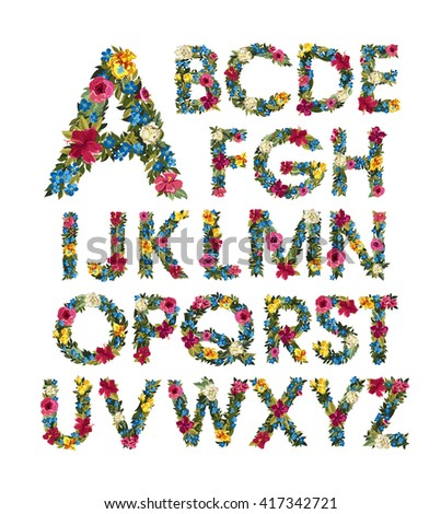 Colorful floral alphabet. ABC. Grotesque capital letters with flowers and leaves. Vector illustration. Isolated on white. Spring and summer flowers: roses, forgot me not, iris, Lilly, peony.  - stock vector