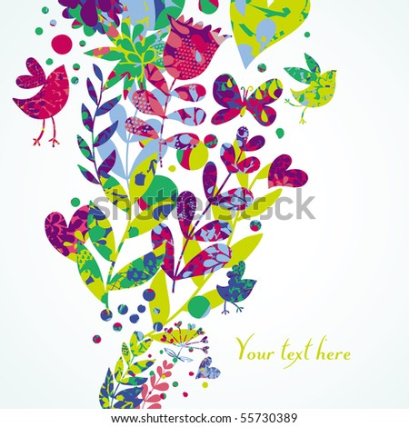 Colorful floral background with butterflies, birds and hearts - stock vector