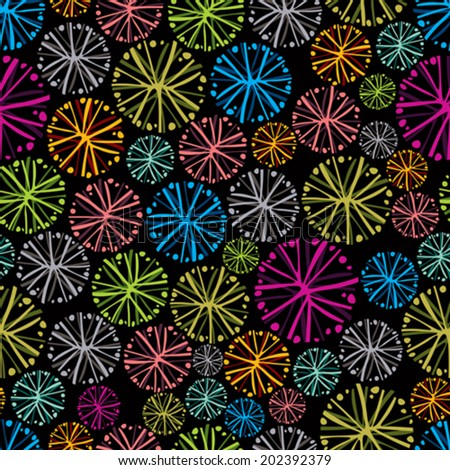 Colorful floral background with dandelions, decorative snowflake seamless pattern. - stock vector