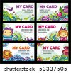 Colorful floral cards set (floral series) - stock vector