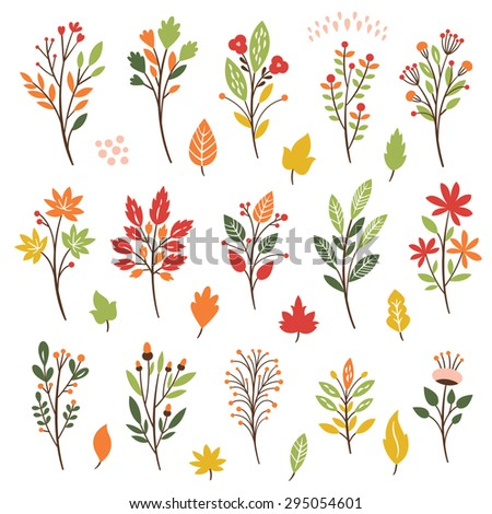 Colorful floral collection with leaves and flowers, autumn leaves  - stock vector
