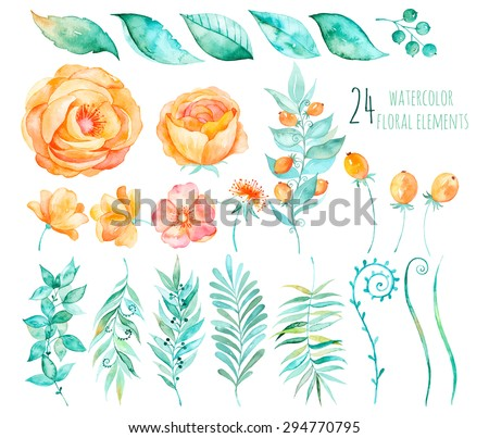 Colorful floral collection with roses,leaves,berries,branches and others.Hand drawn design.Vector floral collection for your compositions.Bright colors watercolor,spring-summer botanical elements - stock vector