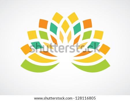 Colorful floral design element for logo designing - stock vector