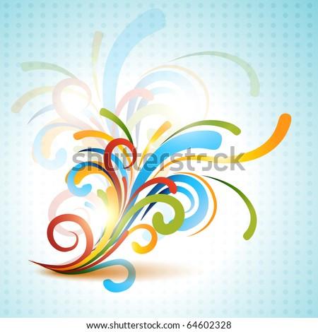 colorful floral design illustration artwork - stock vector