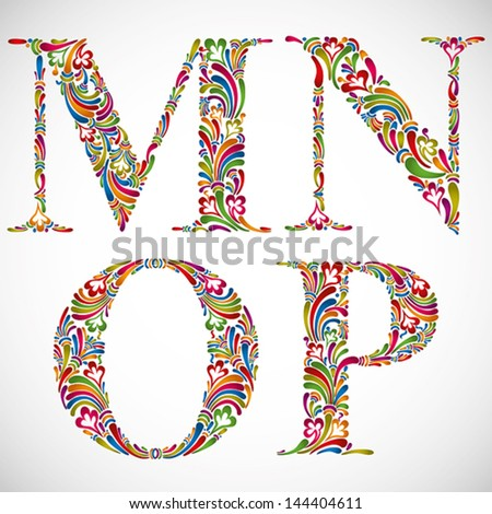 Colorful floral font, ornate alphabet letters M N O P, vector. - stock vector