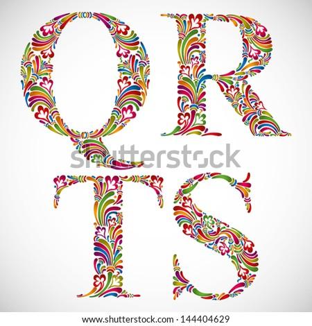 Colorful floral font, ornate alphabet letters Q R S T, vector. - stock vector