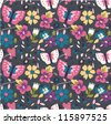 colorful floral nature seamless pattern background - stock