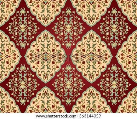 colorful floral persian ornament template for oriental carpets textiles shawl and any
