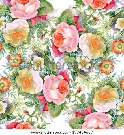 Colorful floral seamless pattern on white background vector  - stock vector