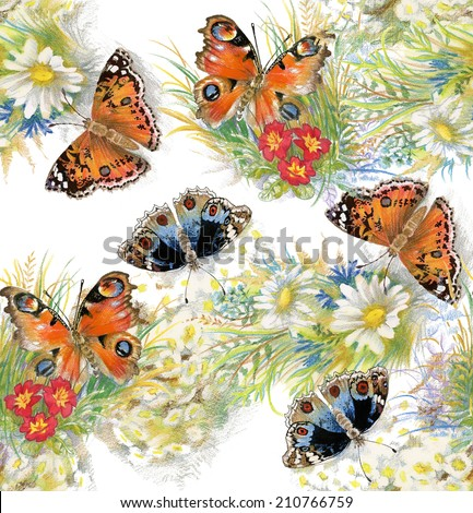 Colorful floral seamless pattern with butterflies and flowers on white background vector illustration - stock vector