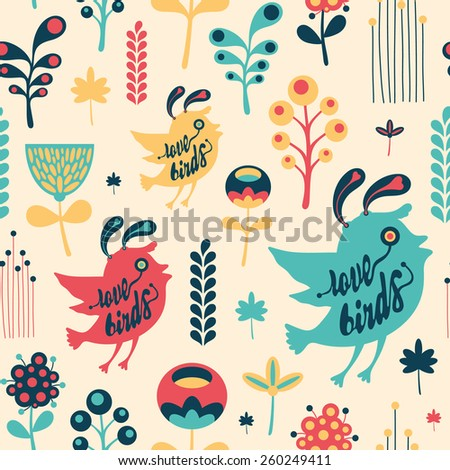Colorful floral seamless pattern with love birds